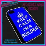 FITS IPHONE 4 / 4S PHONE KEEP CALM IM A BUILDER  PLASTIC COVER COOL GIFT BLUE
